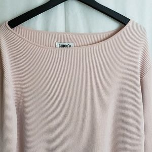 Chicos Design Pink Long Sleeve Ribbed Sweater